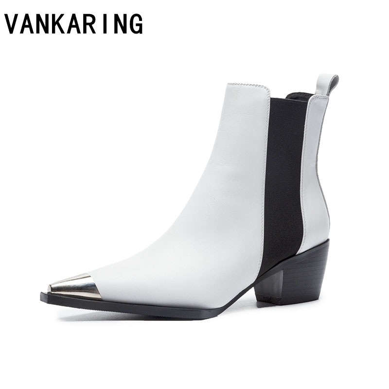 VANKARING brand shoes women ankle boots genuine leather high heels pointed toe black white shoes woman