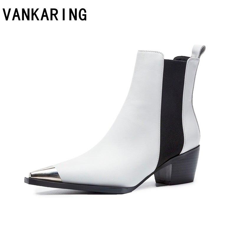 VANKARING markowe buty kobiety kostki buty oryginalne skórzane szpilki pointed toe czarne białe buty kobieta sukienka buty zimowe damskie w Buty do kostki od Buty na  Grupa 1