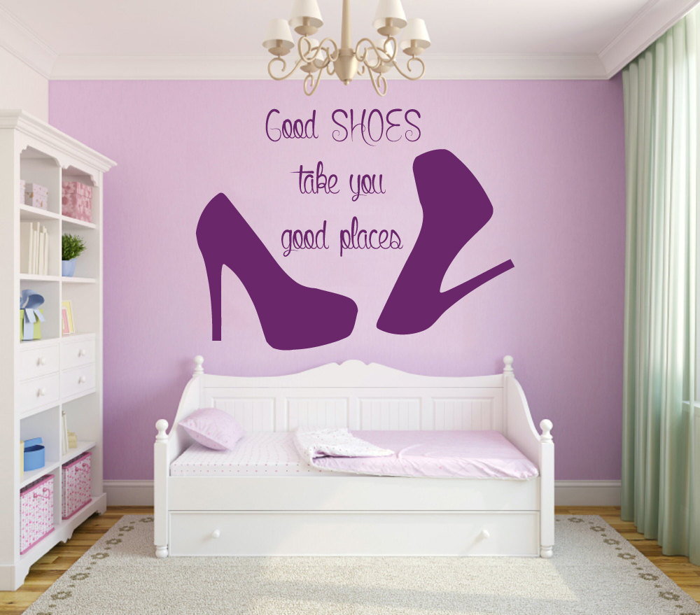Us 11 99 Wall Decal Quote Good Shoes Take You Good Places Fashion Vinyl Stickers Beauty Salon Decal Mural Girls Room Decor M 58 In Wall Stickers