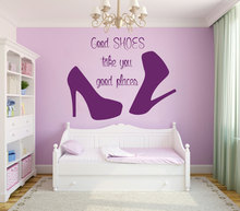 wall decal quote good shoes take you good places fashion vinyl stickers beauty salon decal mural girls room decor m 58 beauty room furniture