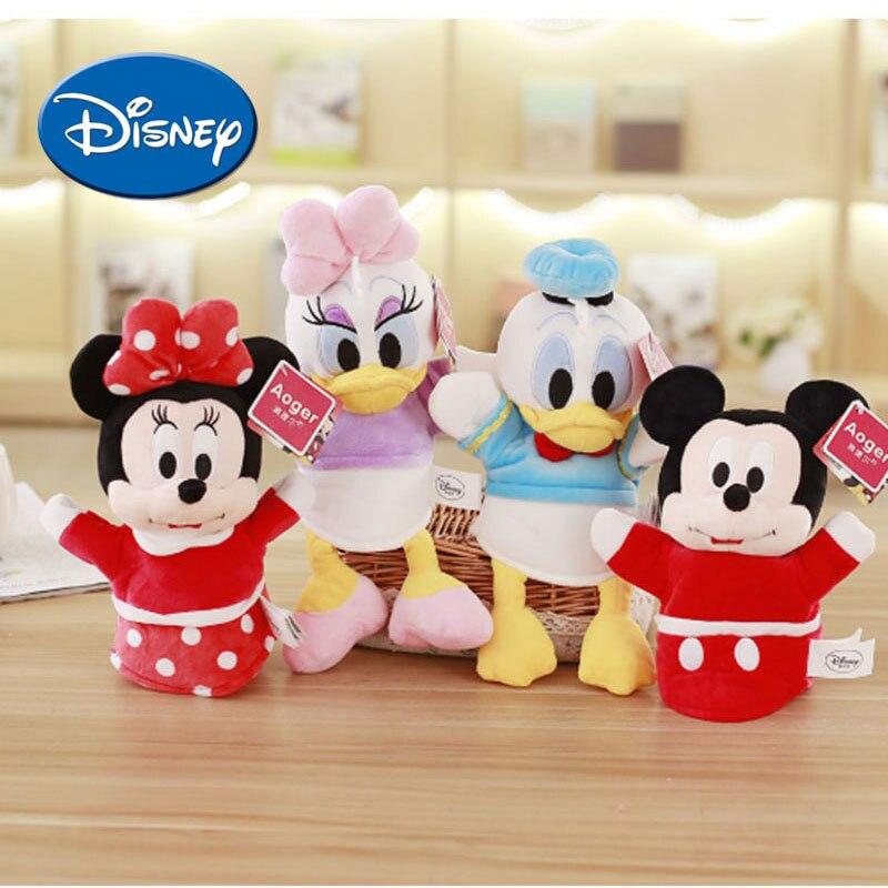 Disney Main Marionnettes Pour Enfants Doigt Poupées Mickey Mouse Minnie de Bande Dessinée Souple Safe Mignon En Peluche Jouets Parent-enfant Jouet