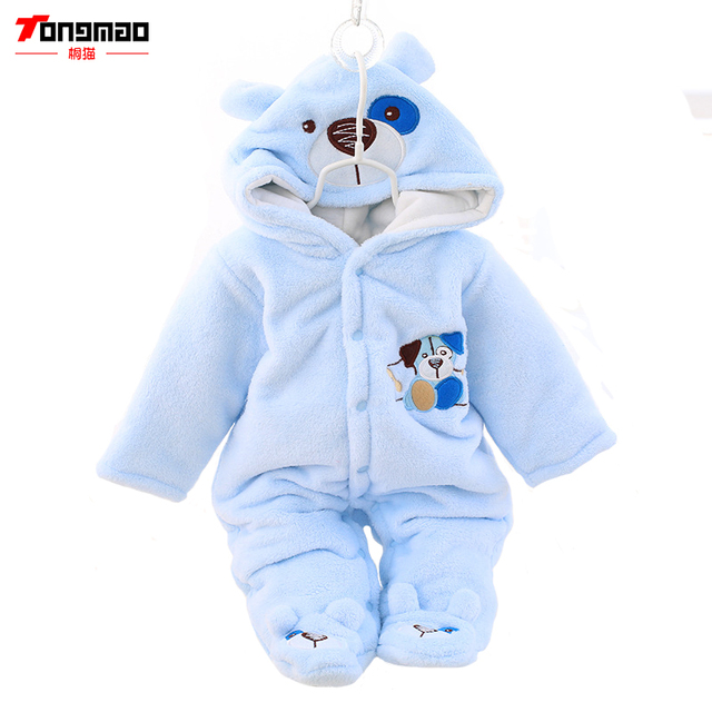 Baby Coveralls Thick Long Sleeve Package Feet Fall and Winter Clothes Cotton Newborn Baby Clothes Out of Children Aged 0-1Romper