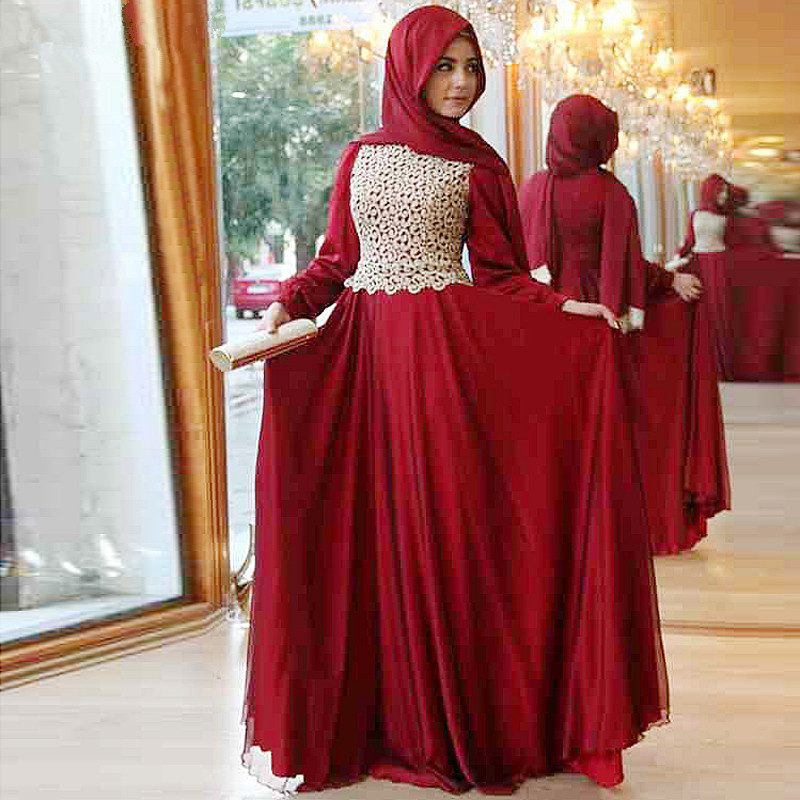 Us 148 0 2015 New Design Moroccan Kaftan Hijab Evening Dress Long Sleeve Red Lace Chiffon Muslim Prom Dresses In Evening Dresses From Weddings