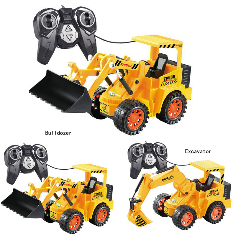 New simulation electric remote control car excavator bulldozer control engineering vehicles children s toys