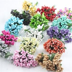 12pcs/lot Mini artificial Stamen Bud Bouquet Leaf flower for home Garden wedding Car corsage decoration Box crafts Supplies(China)