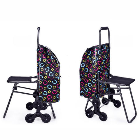 Home Climb Stairs Shopping Cart with Waterproof Bag, Household Trolly with seat, Steel Frame Shopping Cart, Pull Rod Cart Karachi