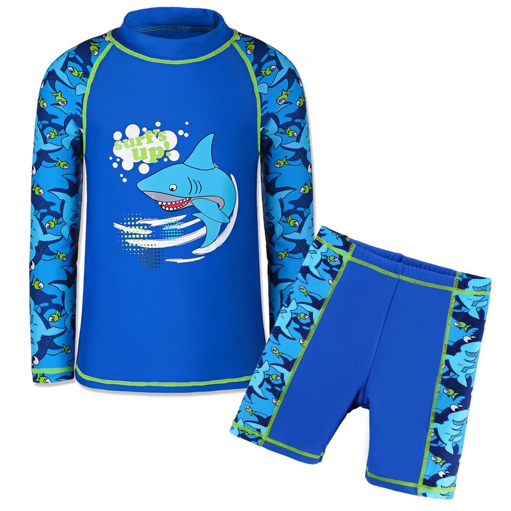 Baby Boy Long Sleeve Sun Protection Swimwear Shark Pattern Bathing Suit Set Kids