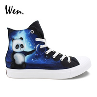 Wen Hand Painted Original Shoes Cute Panda Play Water Polo Design Custom Canvas High Top Sneakers