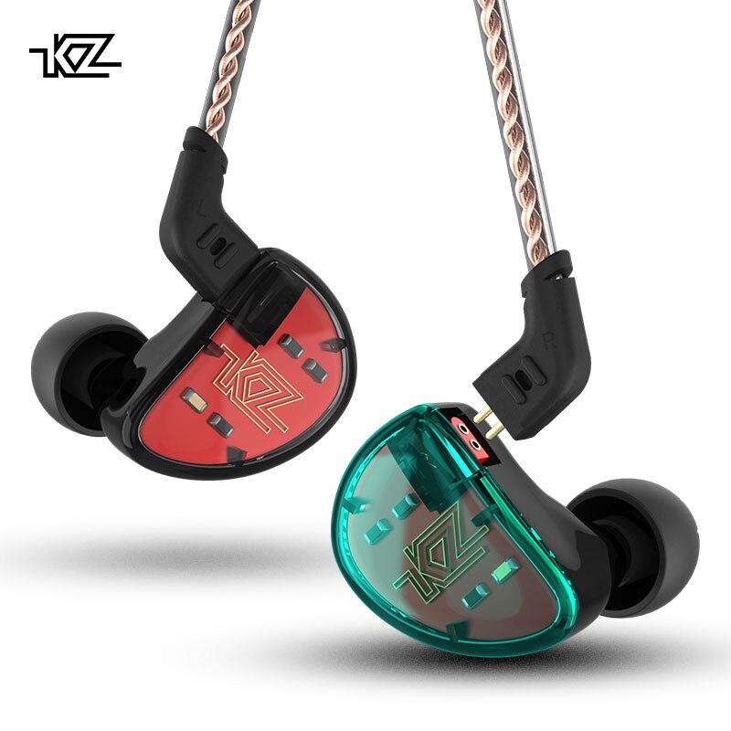 KZ AS10 5BA unidad en el auricular del oído IEM 5 armadura equilibrada desmontable separar 2Pin Cable DJ HIFI Monitor Smartphone auricular