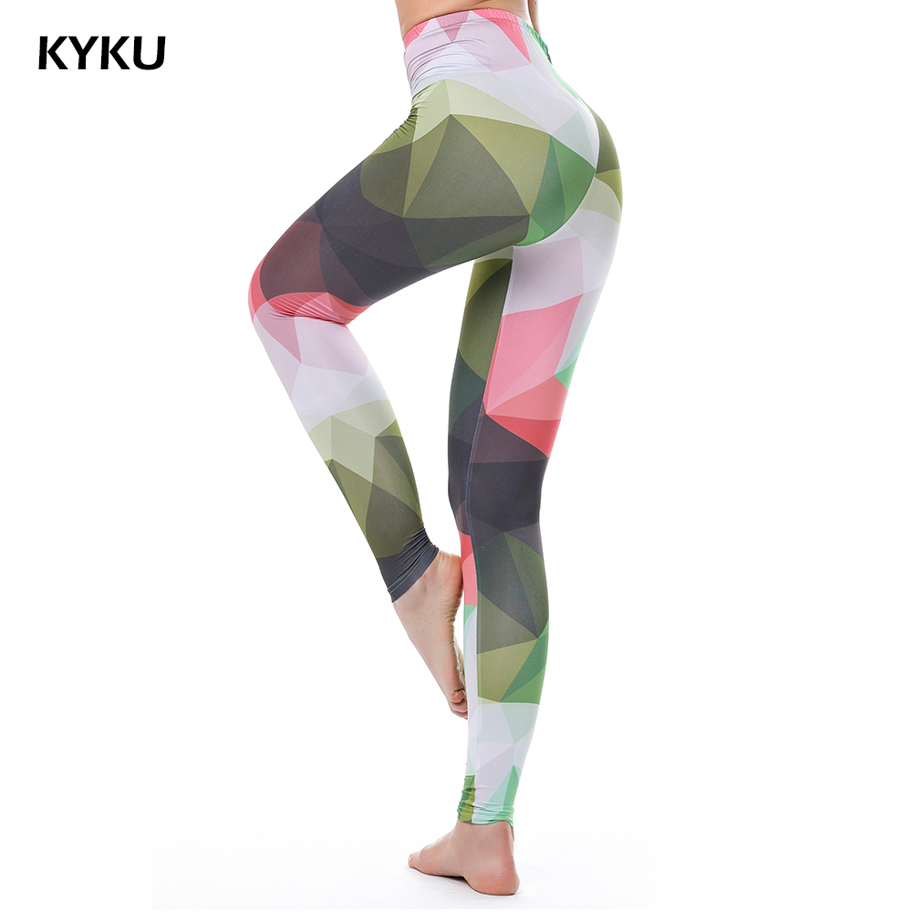 Cintura alta Leggings de colores para las mujeres Fitness Legging Push Up Leggings Mujeres Camuflaje Leggins Sexy Moda delgado Jeggings KYKU