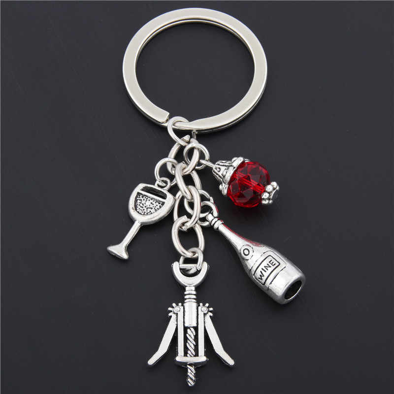 1pc Red Wine Glass Charm Keychain Cheers Jewelry GIfts For Wine Lover Wine Bottle Opener Charm Red Beads Keyring E1674