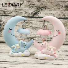 LEDIARY Resin Moon Unicorn Night Lights Pink Blue Room Table Decor Girls Gift Cold White Lamp Sweety Cute Animal Holiday