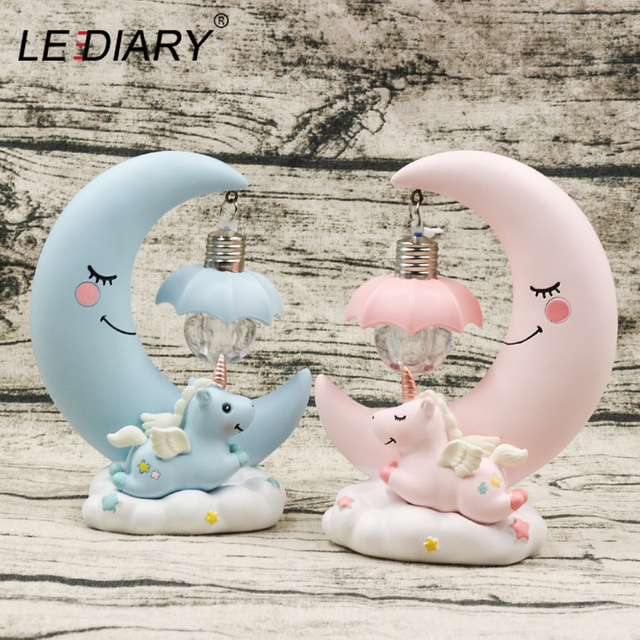 LEDIARY Resin Moon Unicorn Night Lights Pink Blue Room Table Decor Girl's Gift Cold White Lamp Sweety Cute Animal Holiday Lights