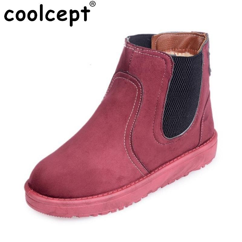 Coolcept Size 36-40 Winter Shoes Women Thick Fur Inside Ankle Snow Boots For Women Thick Platform Warm Winter Flat Botas
