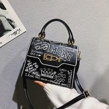 Модная женская сумочка с граффити из искусственной кожи, маленькая сумка с клапаном, роскошная сумка через плечо для женщин, вечерняя сумочка-клатч
