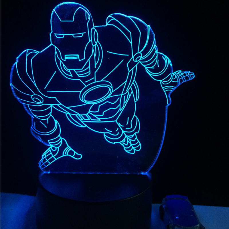 Hot 3D Lamp Cartoon figure Iron Man Shield USB led bulb Night Light touch RC remote lamp Decora o Lighting Boy kids toys gift