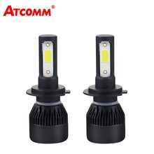 ATcomm H7 H1 LED Mini Car Lights H4 Auto Bulb 9005/HB3 9006/HB4 12V 24V 4300K White 8000Lm 72W LED H11/H8/H9 Car Lamp LED Coche(China)