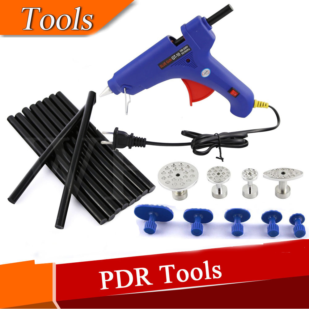 Automotive Paintless Dent Repair Tools PDR Hail Repair Tool Glue Puller Tabs + Glue Gun with 10 pcs black Glue SticksAutomotive Paintless Dent Repair Tools PDR Hail Repair Tool Glue Puller Tabs + Glue Gun with 10 pcs black Glue Sticks