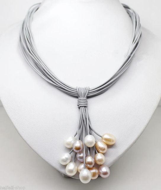 ENVÍO GRATIS>>>>>>>> Caliente venta nuevo Estilo Hecho A Mano Natural de Arroz en forma de 10-11 MM de Colores de Perlas de Agua Dulce Collar colgante