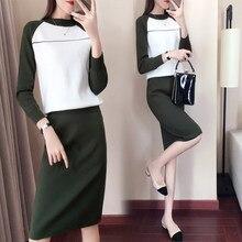 ce1eb1d22 Punto contraste falda Set Conjunto Feminino Vogue suéteres mujer traje años traje  femenino Ol Ensemble Femme Deux piezas