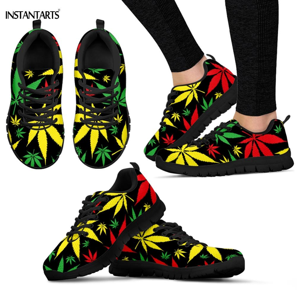 INSTANTARTS Colorful Jamaican Hemp Weed Leaves Pattern Woman Man Running Shoes Breathable Lightweight Adults Sneakers Gym Shoes