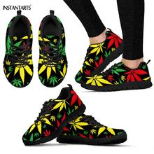 INSTANTARTS Colorful Jamaican Hemp Weed Leaves Pattern Woman Man Running Shoes B