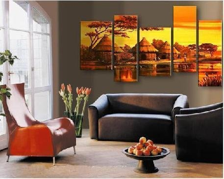 Modern Oil Painting On Canvas  abstract painting Guaranteed 100% Free shipping YP76734 african landscape