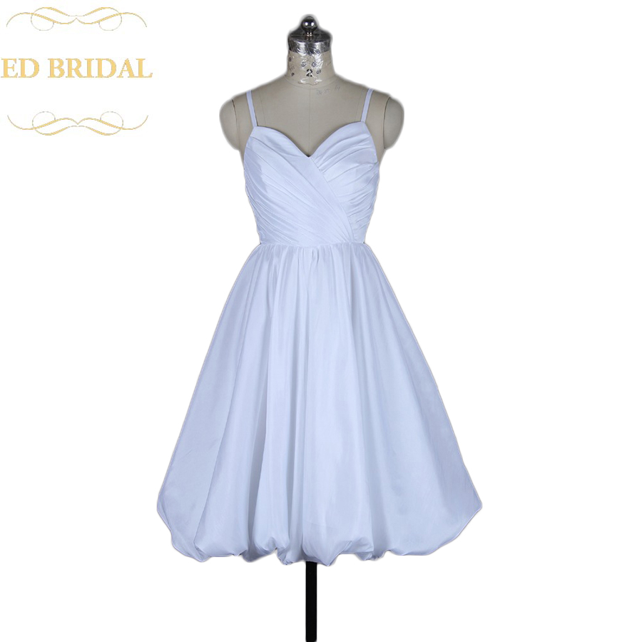 A Line Spaghetti Straps Sweetheart Taffeta Vintage Short Wedding Dress Reception Bridal Gown Robe De Mariage