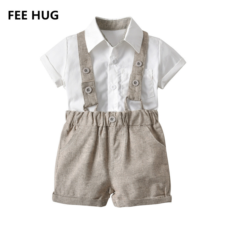 FEE HUG Summer Baby Boys Clothes Sets Cute Toddlers Boys Formal Wedding Party Clothes Newborn Boys Tie+T shirts+Overall Pants