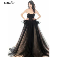 New Arrival Black With Champange Wedding Dresses Lace Appliqued Sweetheart Off The Shoulder Long Robe De