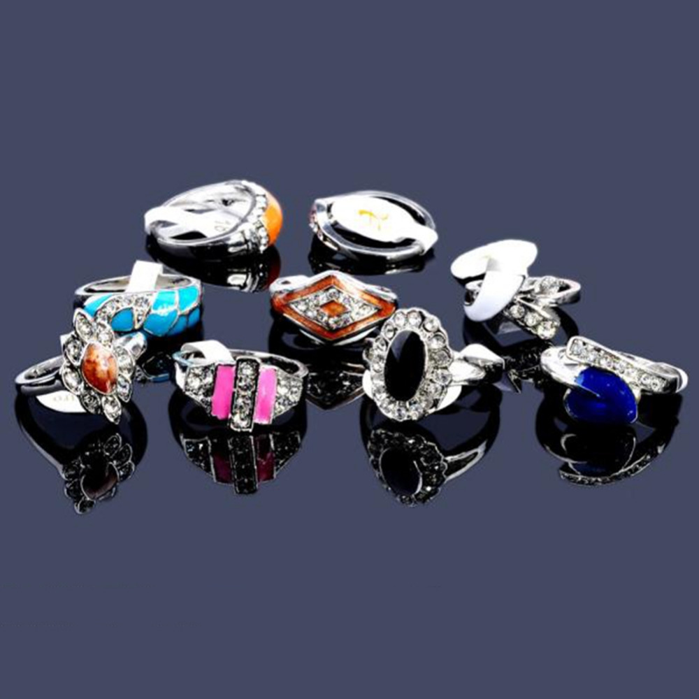 New Hot Jewelry Mix Design Lots 5pcs Crystal Rhinestone Design Rings Big Oil Drip Colorful Silver Alloy Jewelry Wholesale