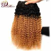 Pinshair Pre-Colored 1B 27 Peruvian Kinky Curly Human Hair Weave 3 Bundles Ombre Blonde Hair Weft Extensions Non Remy Thick Hair