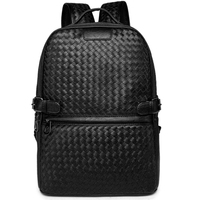 LEVELIVE Luxury Men Weave Leather Backpack Male Bagpack School Bag Business Men S Laptop Bag Famous