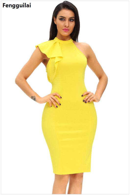 White Ol Elegant Bodycon Party Dresses 2018 Women One Side Ruffle Cute Sleeveless Dress Summer New O Neck Sexy Midi Dress in Dresses from Women 39 s Clothing