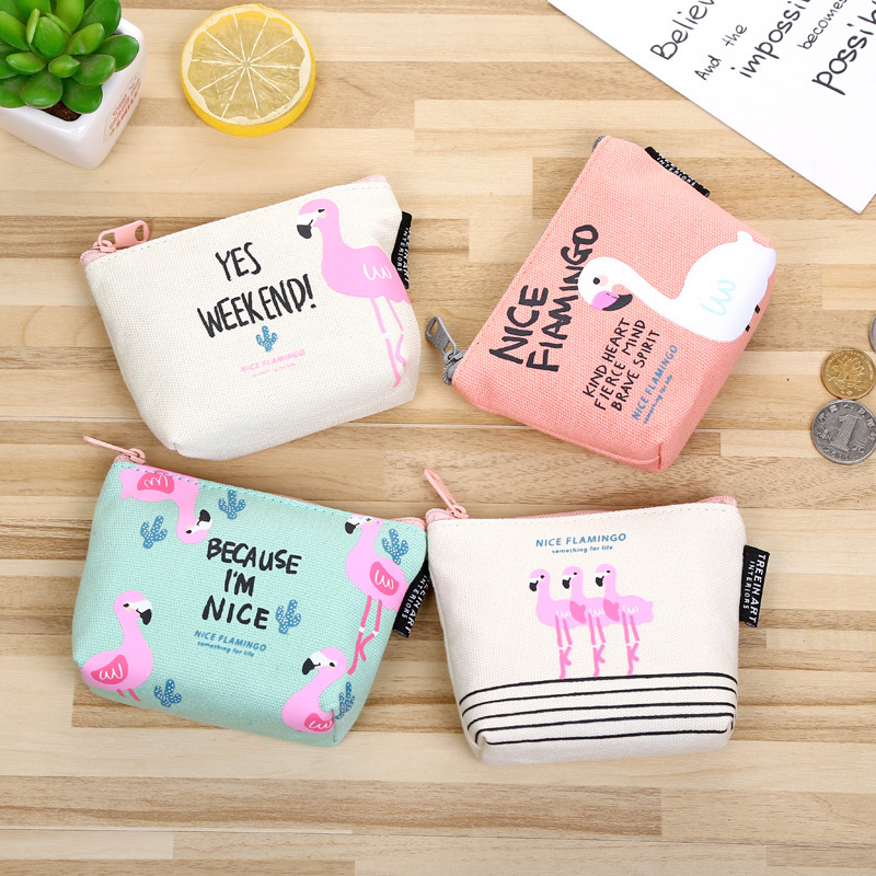 HD Rose Diary New cute flamingos canvas coin purses zipper zero wallet child girl boy women purse lady coin bag key packet vintage paris coin purses packet nostalgia canvas coin bag