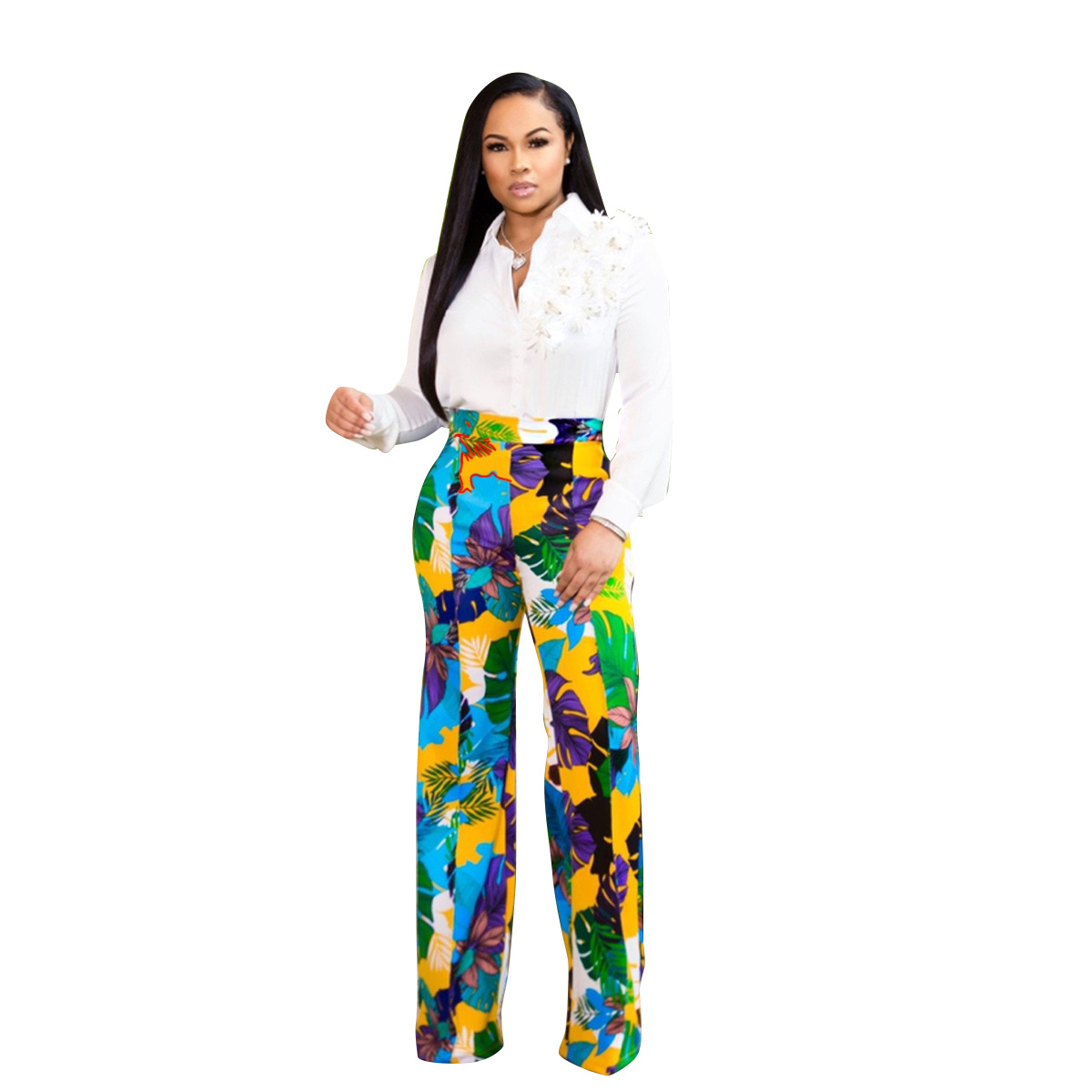 HAOOHU Sexy   Wide     Leg     Pants   Women 2019 Summer Streetwear High Waist Floral Trousers Casual Straight Plus Size Bohemian   Pants