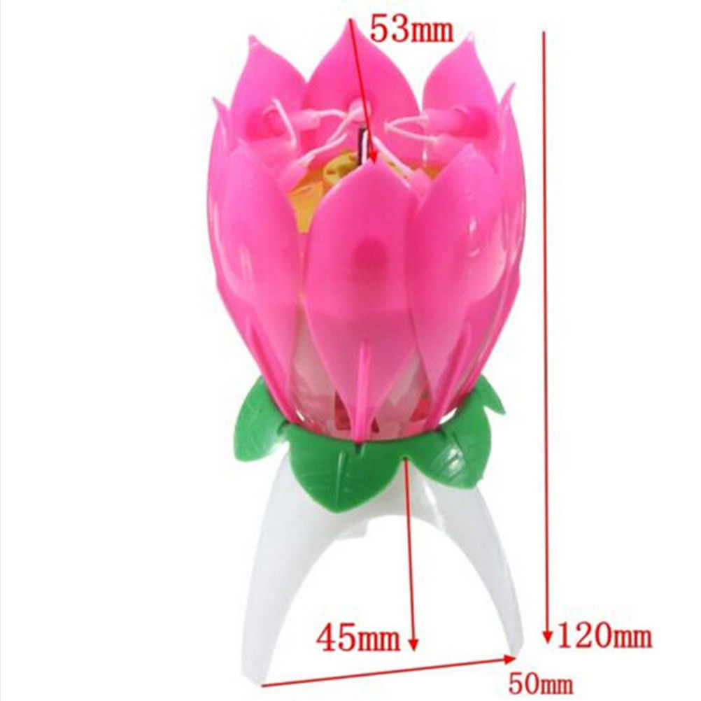 Magic Musical Lotus Flower Flame Candles Holders Birthday Cake Party Lamp Surprise Gift Lights Rotation Decoration Open In Candle From Home