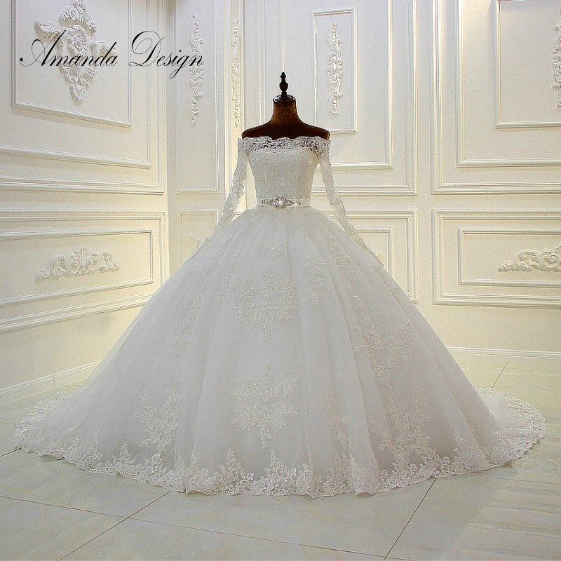 Amanda Design Boat Neck Long Sleeve Lace Appliques Crystal Belt Ball Gown Wedding Dress