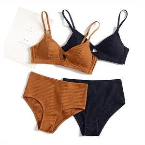 Image 1 - 5 màu sắc 95% cotton áo ngực và eo cao panty phụ nữ sexy intimates Pháp sọc liền mạch nữ thoải mái đồ lót bộ áo ngực