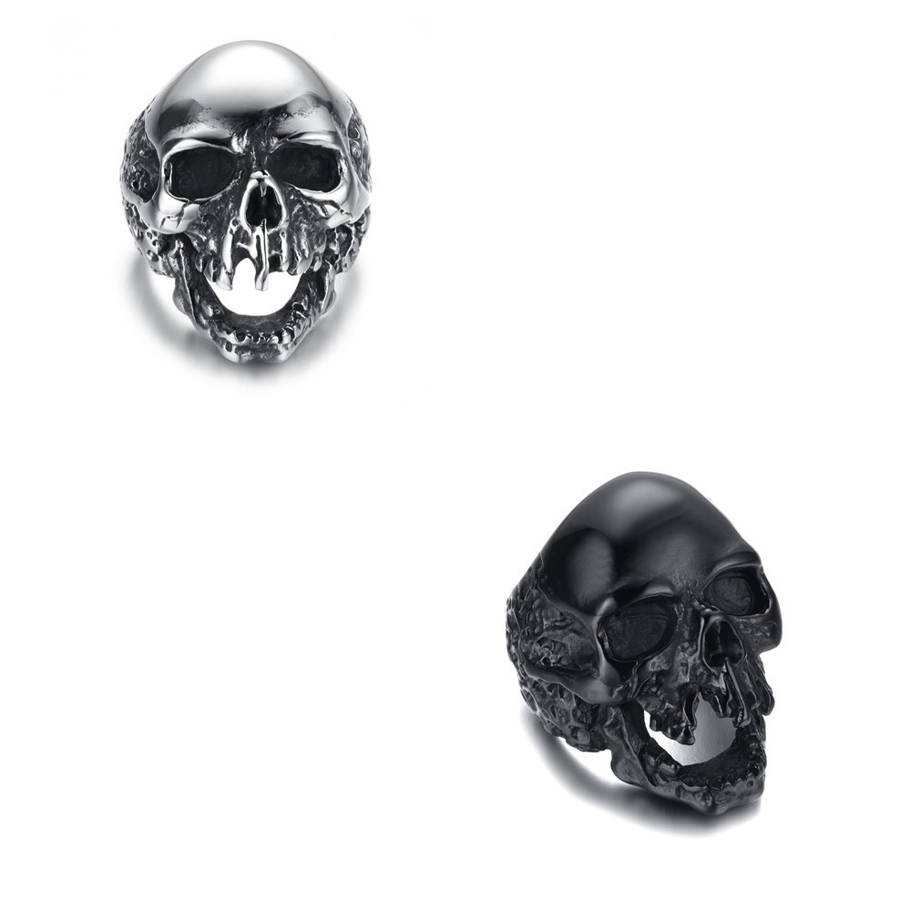 Three Colors Skull Head Titanium Steel Rings jewelry Men's Fashion Punk Rings