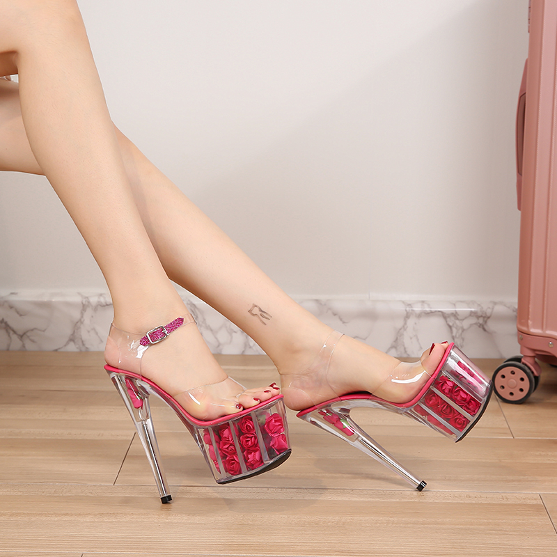 PVC Transparent Women Sandals High Heels 17cm <font><b>Fetish</b></font> Sandals Female <font><b>Shoes</b></font> Flowers Platforms 7cm Wedding <font><b>Shoes</b></font> Lady Pumps 40-48 image