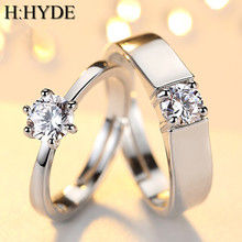 H:HYDE Fashion Crystal CZ Stone Wedding Engagement Rings for Couples Stainless Steel Adjustable Ring for women men(China)