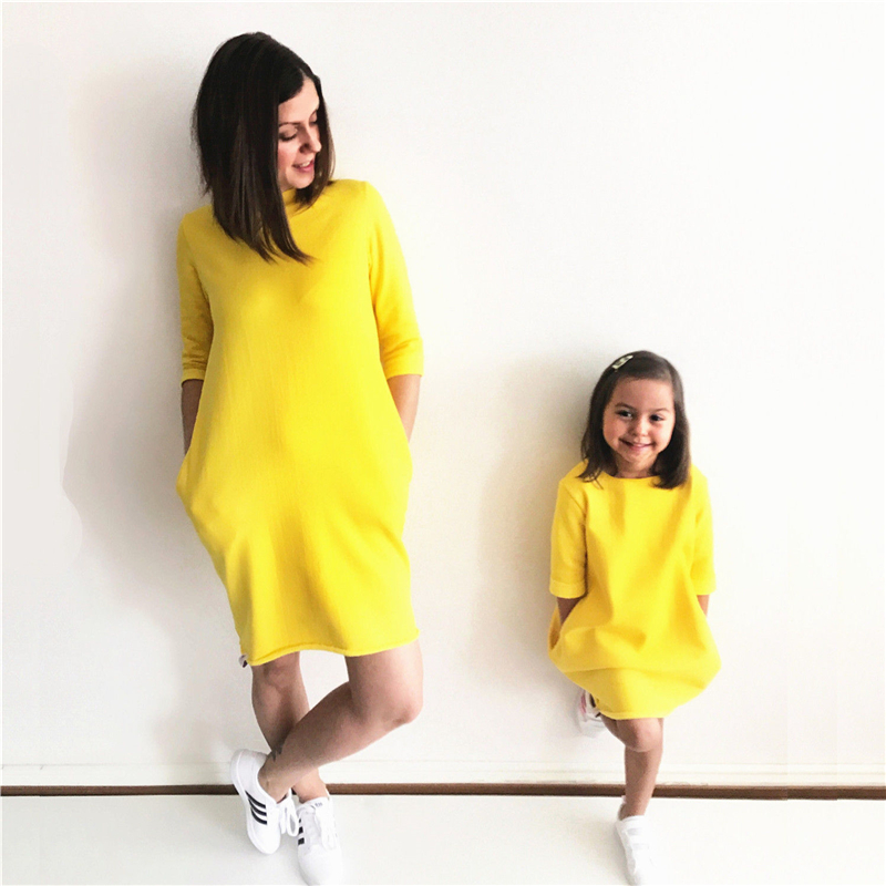 Bright Yellow Family Matching Dress Fashion Mother Daughter Matching Dresses Fall Hot Sale Family Match Oufits 2017 New Vestidos