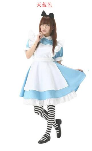 1set/lot woman fashion Alice coaplay dress anime Maid Cosplay costumes Halloween Costumes for Women
