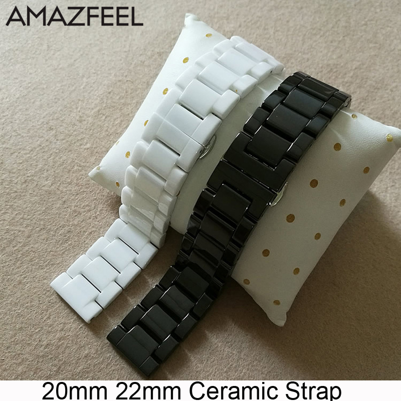 20mm Bracelet Band For Xiaomi Amazfit Bip GTR 42mm 47mm Stratos Pace 22mm Ceramic Strap For Samsung Gear S2 S4 S3 Galaxy 46mm
