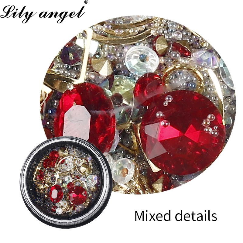 Lily angel 2019 Hot Newest 1 Box Nail Rhinestone Mixed Size Nail Studs Manicure 3D Nail Art Decorations Nail Tips Charms in Rhinestones Decorations from Beauty Health