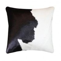 Natural black and white cowhide skin fur pillow throw for furniture upholstery cowhide skin fur sofa pillow cushion with core