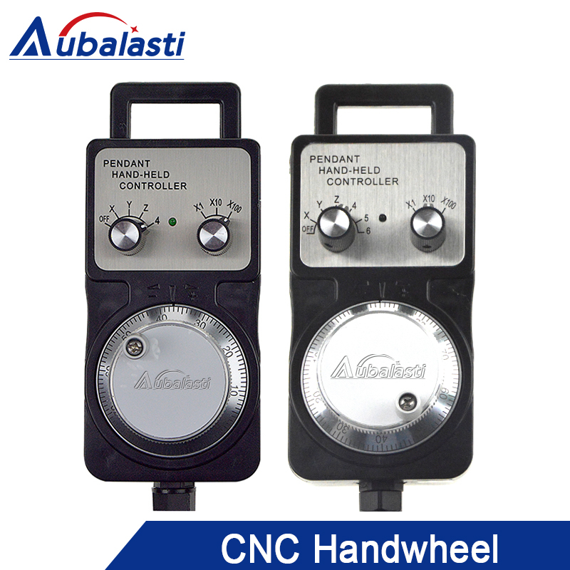 Aubalasti Handwheel pulse generator CNC electronic hand wheel 4axis 6 axisMPG 60mm DC5V 6pin 100PPR use