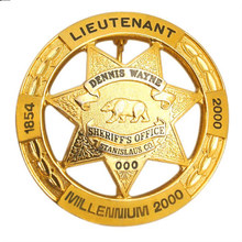 gold hollow badge cheap custom OEM gold-plated badges