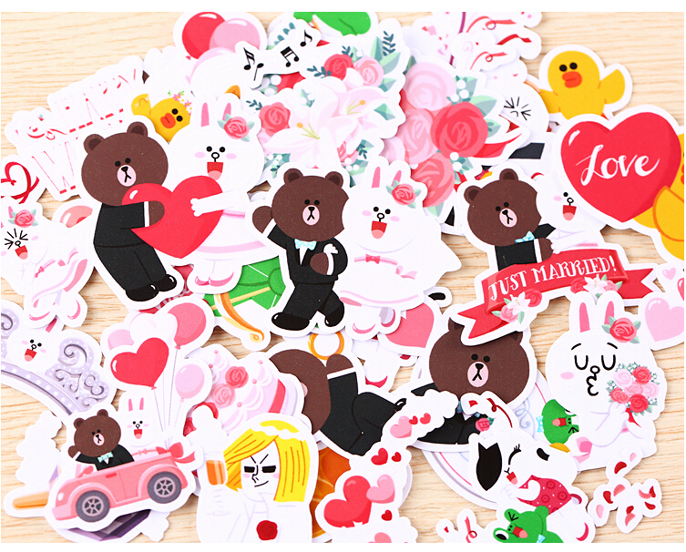 40pcs Creative Cute Self Made Line Star Wedding Stickers